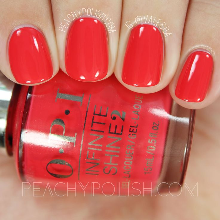 nails.quenalbertini: OPI Cajun Shrimp, Infinite Shine Iconic Collection | Peachy Polish