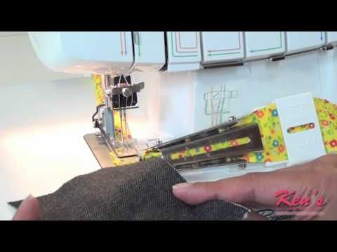 How to use the Brother SA225cv Double fold binder for 2340cv coverstitch machine - YouTube
