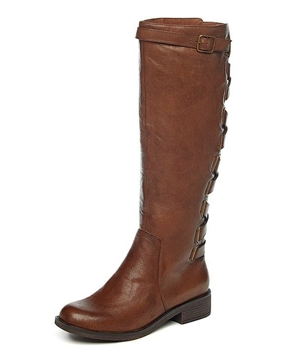 Look at this Yellow Box Shoes Cognac Katheron Leather Boot on #zulily today!