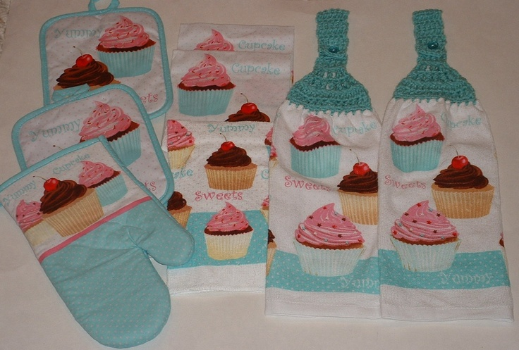 Cupcakes Hanging Crochet Top Dish Towel Kitchen Potholder