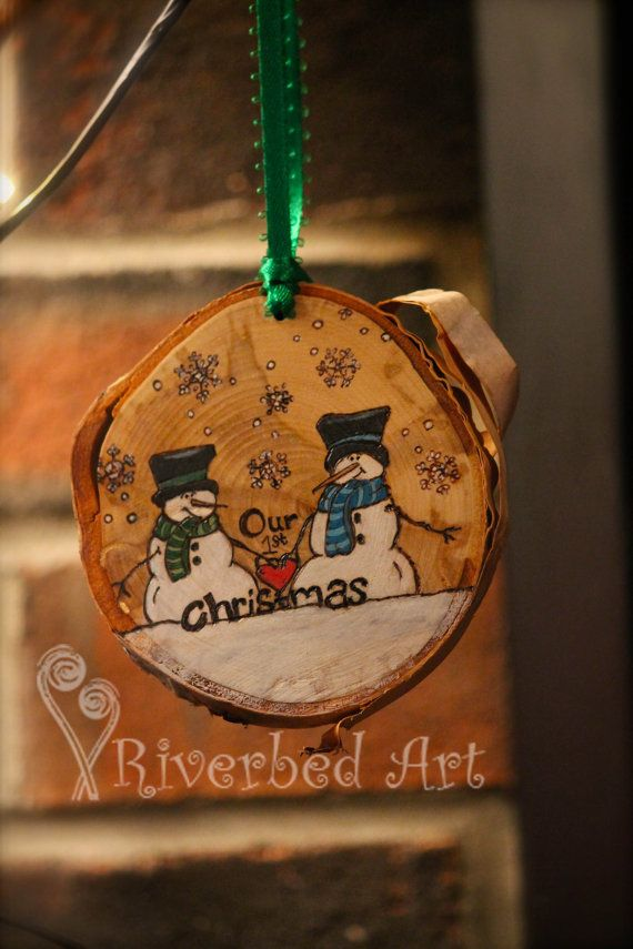 Same Sex Couple's First Christmas Pyrography Snowmen Ornament (Male)