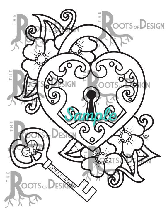 Instant Download Coloring Page Key To My Heart Doodle Art