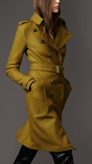 burberry: Burberry Coats, Fall Coats, Colors, Burberry Trench, Jackets, Trench Coats, Winter Coats, Mustard Yellow, Wool Coats