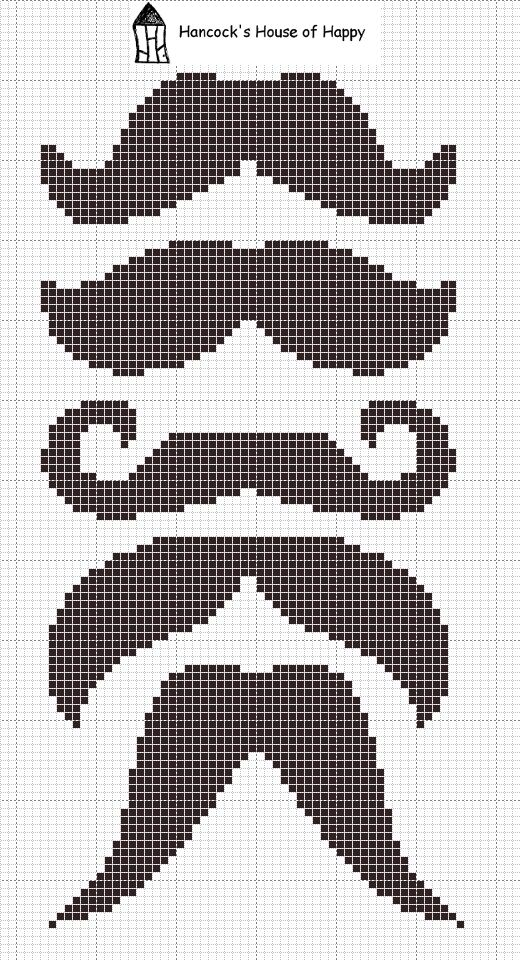 stitch: mustache cross-stich patterns || hancock's house of happy