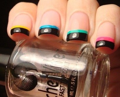 manicure: Nails Art, French Manicures, Nails Design, Nailart, Color, Nails Tips, Paintings Tips, Black Nails, French Tips