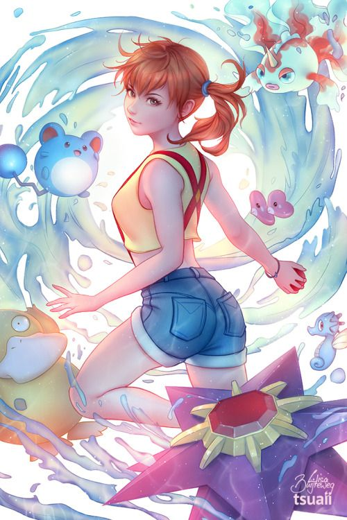 5kindsofmagic: tsuaii: Misty from Pokemon, generation one!This was painted together with my lovely girlfriend Zolaida for my Patreon relaunch! @miyatoriaka@warlordess