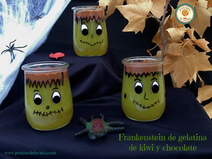 Frankenstein de gelatina de kiwi y chocolate para Halloween. Halloween desserts for children.