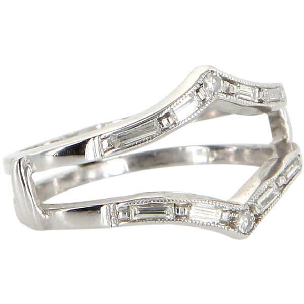 pre owned vintage diamond wedding ring guard wrap 14k white gold 795 - Preowned Wedding Rings