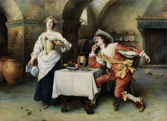 Francesco Vinea (1845-1902) - The courtly guest in the wine cellar:
