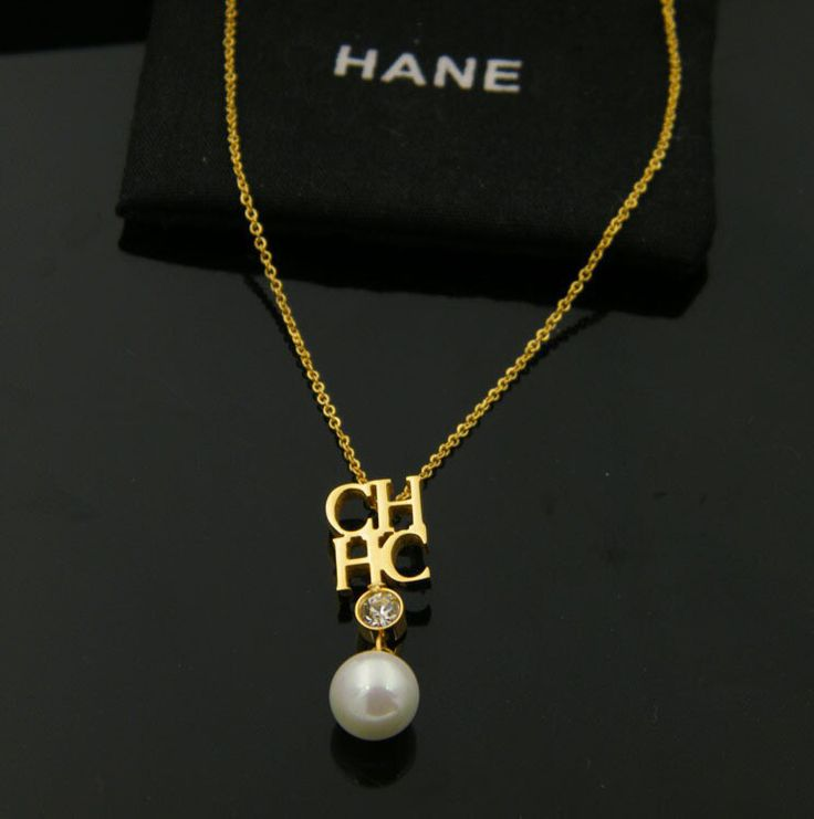 DJM AAA Quality  Fashion Jewelry Stainless Steel Letter Pearl  Necklaces Pendants (DJ0506)