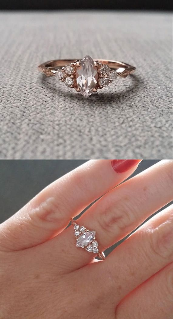 """Antique Engagement Ring Victorian White Sapphire Marquise Diamond Bohemian Antique Filigree Delicate 14K Rose Gold """"The Delphine"""""""