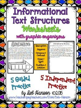 Informational Text Structures Worksheet Packet featuring g