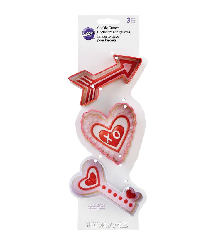 Wilton Metal Cookie Cutter Set 3pc-Arrow, Scalloped Heart And Key