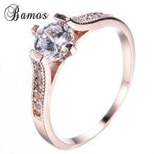 Simples Design Branco CZ Anéis de Diamante Para As Mulheres Festa de Casamento Engagement Nupcial Rose Gold Filled Anel de Cristal Jóias Amor RR0010(China (Mainland))