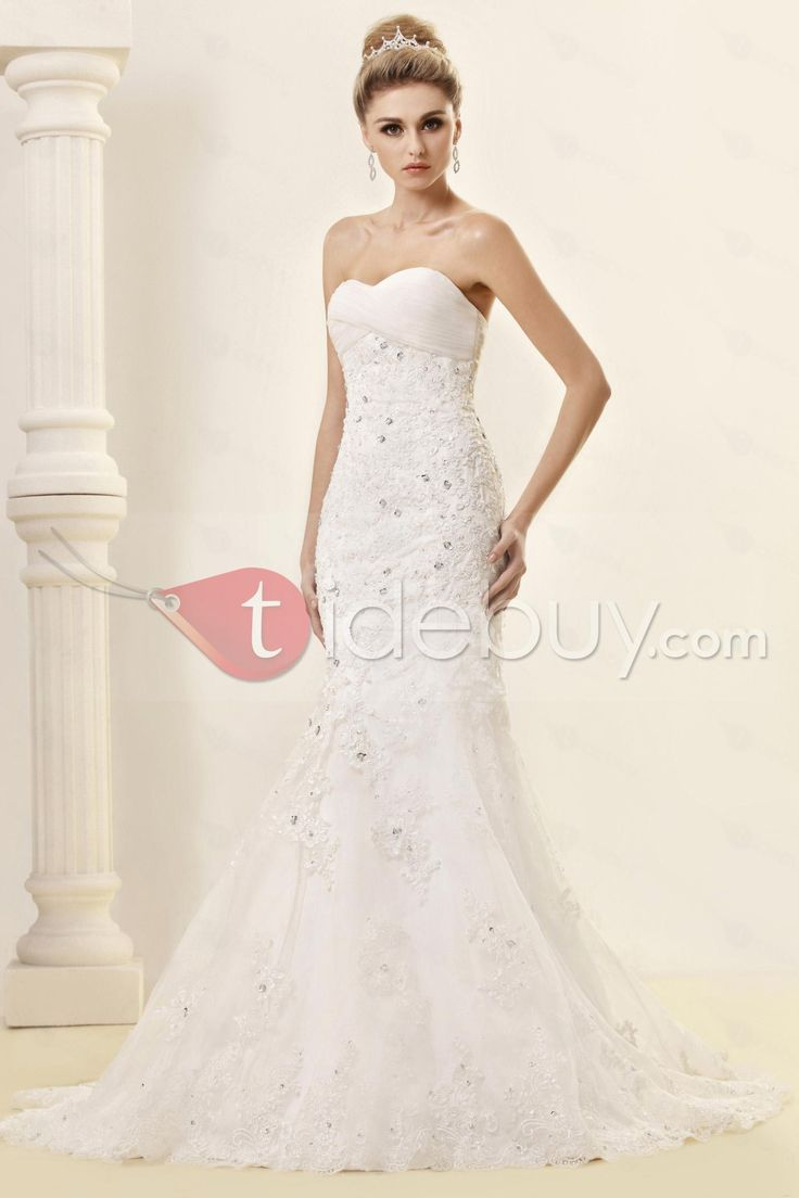 Cheap Trumpet/Mermaid Strapless Sweetheart Floor-length Court Lace Dash's Wedding Dress