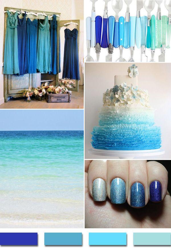 shades of blue summer wedding color ideas for 2014 www.finditforweddings.com beach weddings