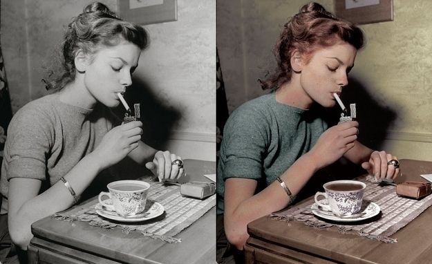 Lauren Bacall. | 12 Beautifully Re-Coloured Vintage Pictures Of Celebrities I love her.
