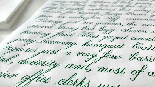 Lamy green ink Copperplate calligraphy.