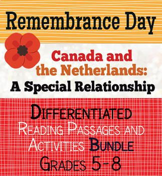 Remembrance Day - Canada and the Netherlands, a special relationship: This is a small bundle of two resources, one designed for students in grades 5-6 and the other for students in grades 7-8. The resources are similar in content, with the texts written at different levels with different vocabulary words.