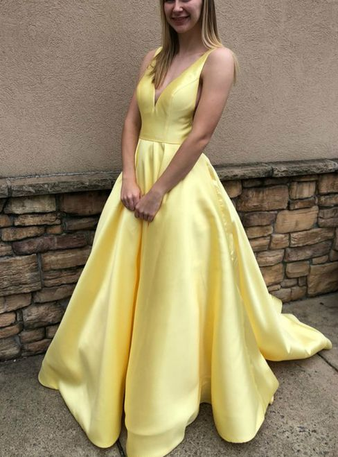 4783f40ce25 A-Line Yellow Satin V-neck Backless Floor Length Prom Dress With ...