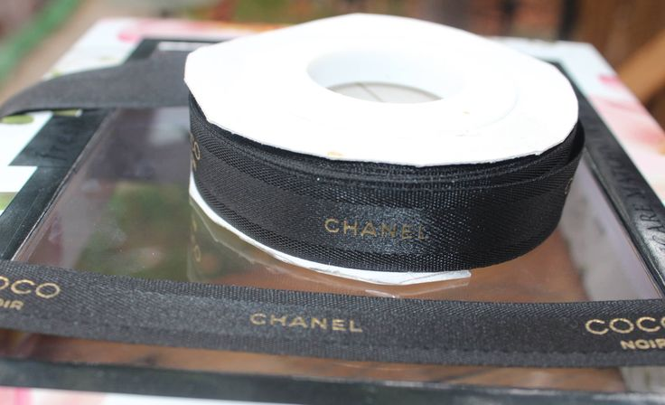 """Chanel Ribbon Coco Noir 3/4"""" sold by the yard 36 inches authentic chanel ribbon designer ribbon"""