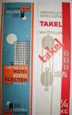 Labels: Van Nelle's Takel Koffie en Hotel Koffie Electra – ca. 1935 – Jac. Jongert