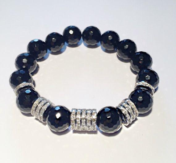2,86 ct DIAMOND and black ONYX bracelet, onyx and diamond bracelet, FREE shipping