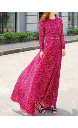 Pink Leopard print long sleeve maxi dress! - Apostolic Clothing #modest #dresses
