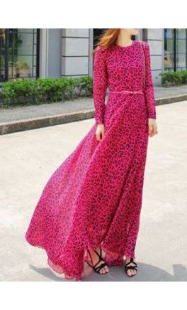 Pink Leopard print long sleeve maxi dress! - Apostolic Clothing #modest #dresses