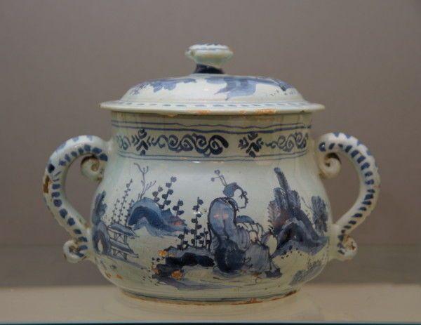 Brislington Blue and White Delftware Posset Pot and Cover