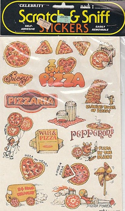 """Scratch n Sniff stickers.... When I run across some of these in stores today...all i have to do is sniff them and its like it takes me back in time to my youth... ahhhhh SWEET Memories!!! I remember the """"Pickle"""" stickers, """"Grape"""" Stickers and so many more!!!"""