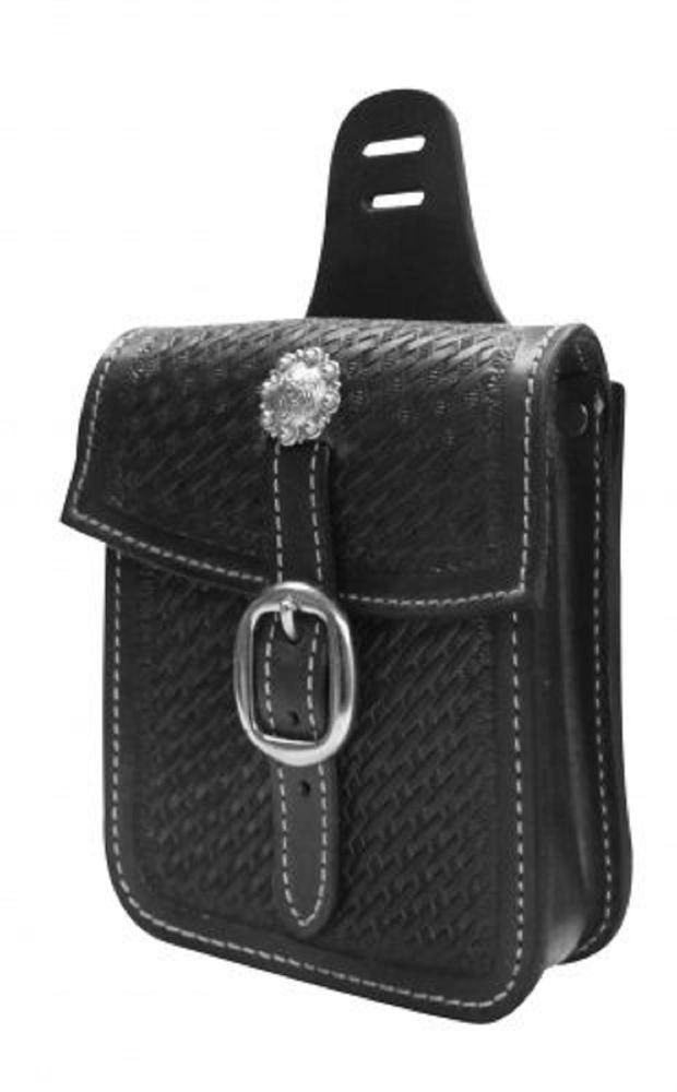 Tooled BLACK Leather Western Saddle Bag Pocket Small Size Great For Trails #showmanproducts