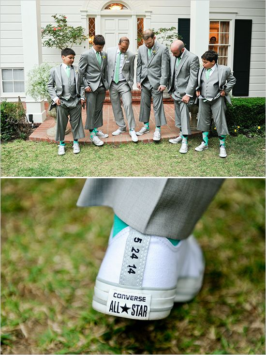 custom wedding converse | mint and grey grooms look | mint groomsmen look | #weddingchicks