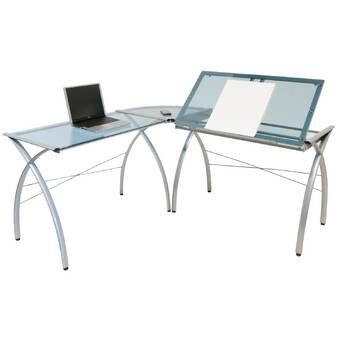 Futura Height Adjustable Drafting Table Glass Desk L Shaped