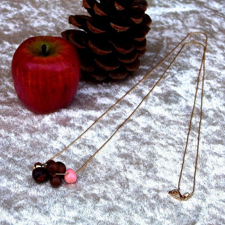 <2239:Helena Rohner necklace COCOBOLO×RASPBERRY>