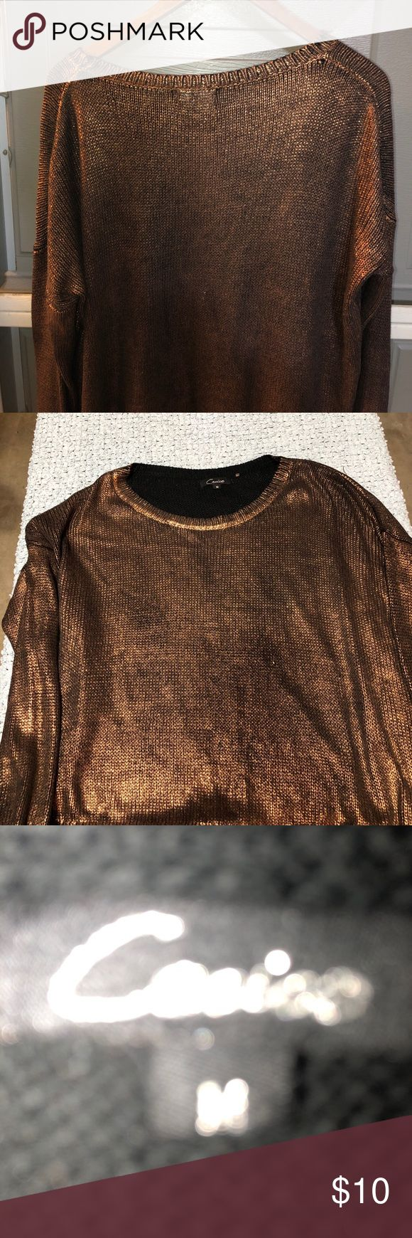 Copper sparkly sweater Copper sparkly sweater.  Great for Christmas party.  Looks great with black pencil skirt. Cecico Sweaters Crew & Scoop Necks