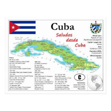 Cuba Map Postcard - postcard post card postcards unique diy cyo customize personalize