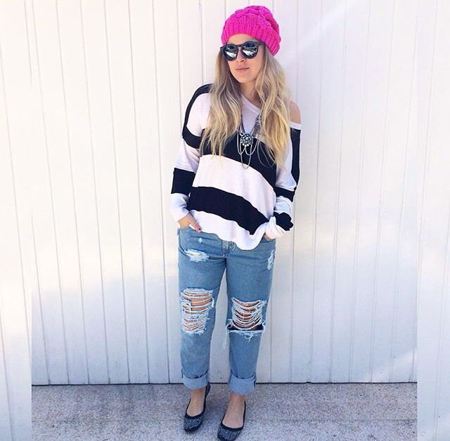 Stripes / gorro pink / destroyed jeans / ootd / Sherons/ Andressa Almeida