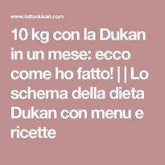 10 kg con la Dukan in un mese: ecco come ho fatto! |  | Lo schema della dieta Dukan con menu e ricette