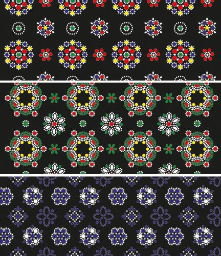 Dutch fabrics decorated with small dots made with the head of a nail. These traditional decorated fabrics are called Staphorster stipwerk