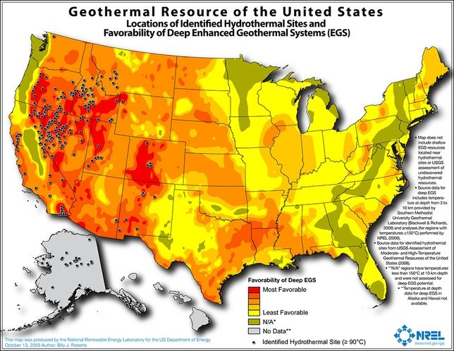 I love maps. This one shows the geothermal energy potential of the US. Notice anything in the West?