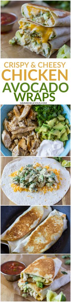 10 Minute Healthy Crispy Chicken and avocado Wraps (gf tortillas)