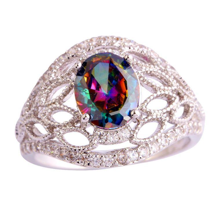 Женщины ювелирные изделия новые сверкающие овальным вырезом таинственный радуга сапфир мода 925 серебряное кольцо размер 7 8 9 10 бесплатная доставкакупить в магазине only 1 jewelry Co., Ltd.наAliExpress