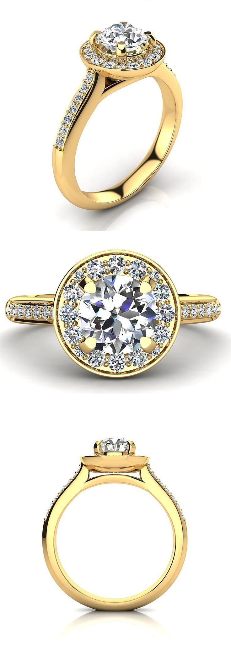 This Halo Designer 18K Gold Round Diamond Engagement Ring by Luxurman showcases 1.1 carats of dazzling high quality G color VS clarity round diamonds masterfully set in 18K gold base. This Designer Engagement Ring showcases 0.8 carat diamond in the center and 0.3 carats of diamonds on sides. This Diamond Engagement Ring is available in 18K white gold, yellow gold and rose gold.