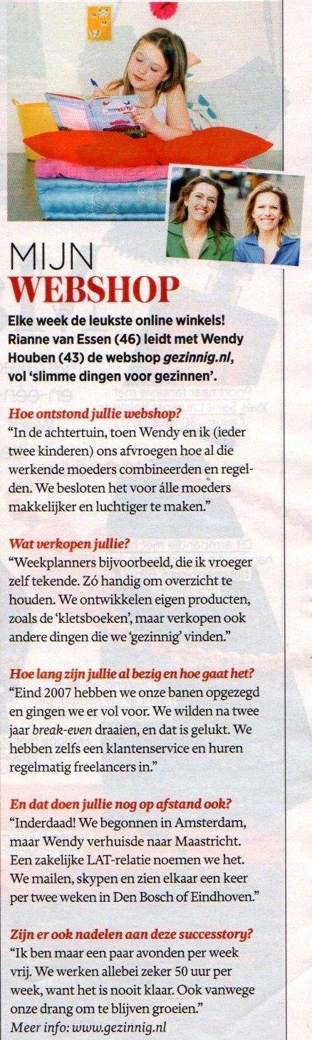 Vrouw Telegraaf 7 november 2014 #interview #gezinnig
