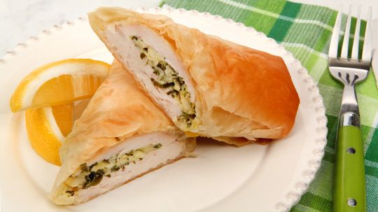 Greek Phyllo-Wrapped Chicken - Recipes - Best Recipes Ever - All over Greece, delicate phyllo pastry encloses savoury and sweet ingredients in pies called pita. Here, we incorporate traditional flavours in an easy, make-ahead dish that's everyday friendly yet elegant enough for company.