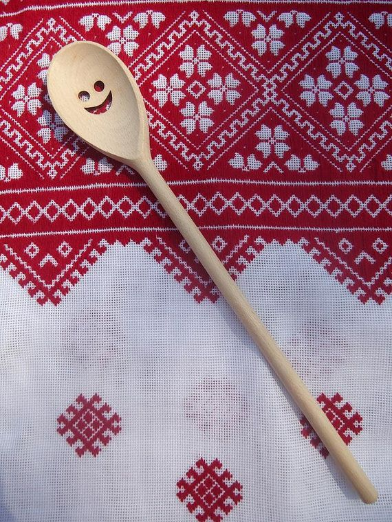 "Wooden ""smiling"" spoon Kitchen cookware Kitchen spoon Gift for women"