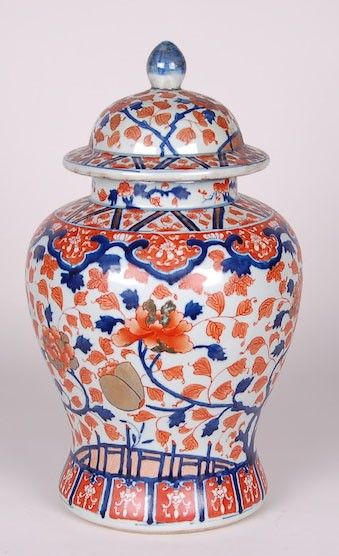 Floral Imari Blue and Orange Jar from The Well Appointed House