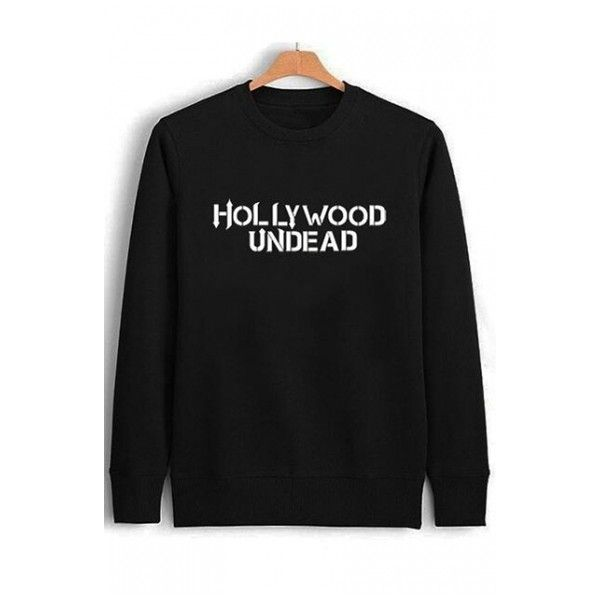 HOLLYWOOD UNDEAD Letter Printed Long Sleeve Round Neck Simple Pullover... ($24) ❤ liked on Polyvore featuring tops, hoodies, sweatshirts, cotton pullover sweatshirt, cotton sweatshirts, cotton pullovers, long sleeve sweatshirts and pullover sweatshirt
