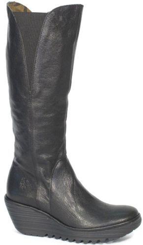 Fly London Yind Black Leather Wedge Knee High Boot Side Zip Elasticated Top | eBay cute!